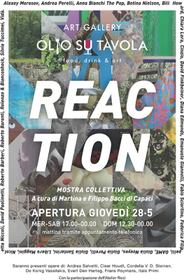 Poster of the collective art exhibition titled Reaction