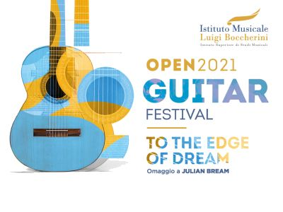 Image logo OPEN Piano 2021. Image of a guitar and the title Open2021 Guitar Festival.