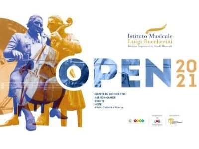 Image logo OPEN 2021. Image of the Boccherini statue and the title Open2021 April