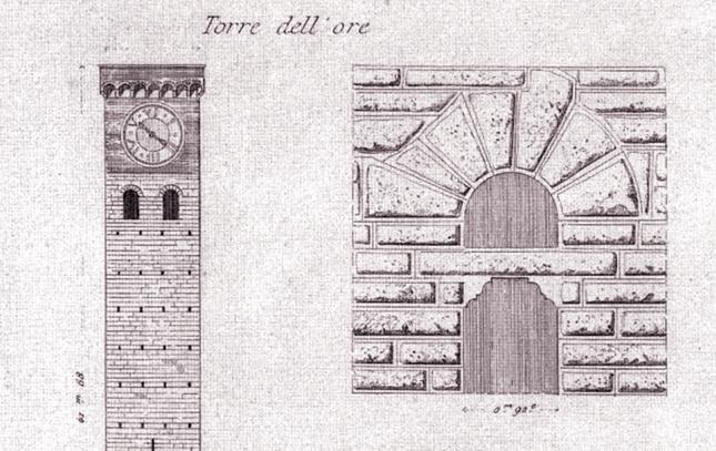 disegno della torre delle ore