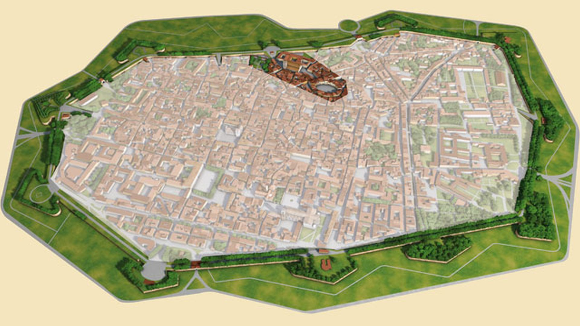 Map of Lucca with spotlight on the northern area