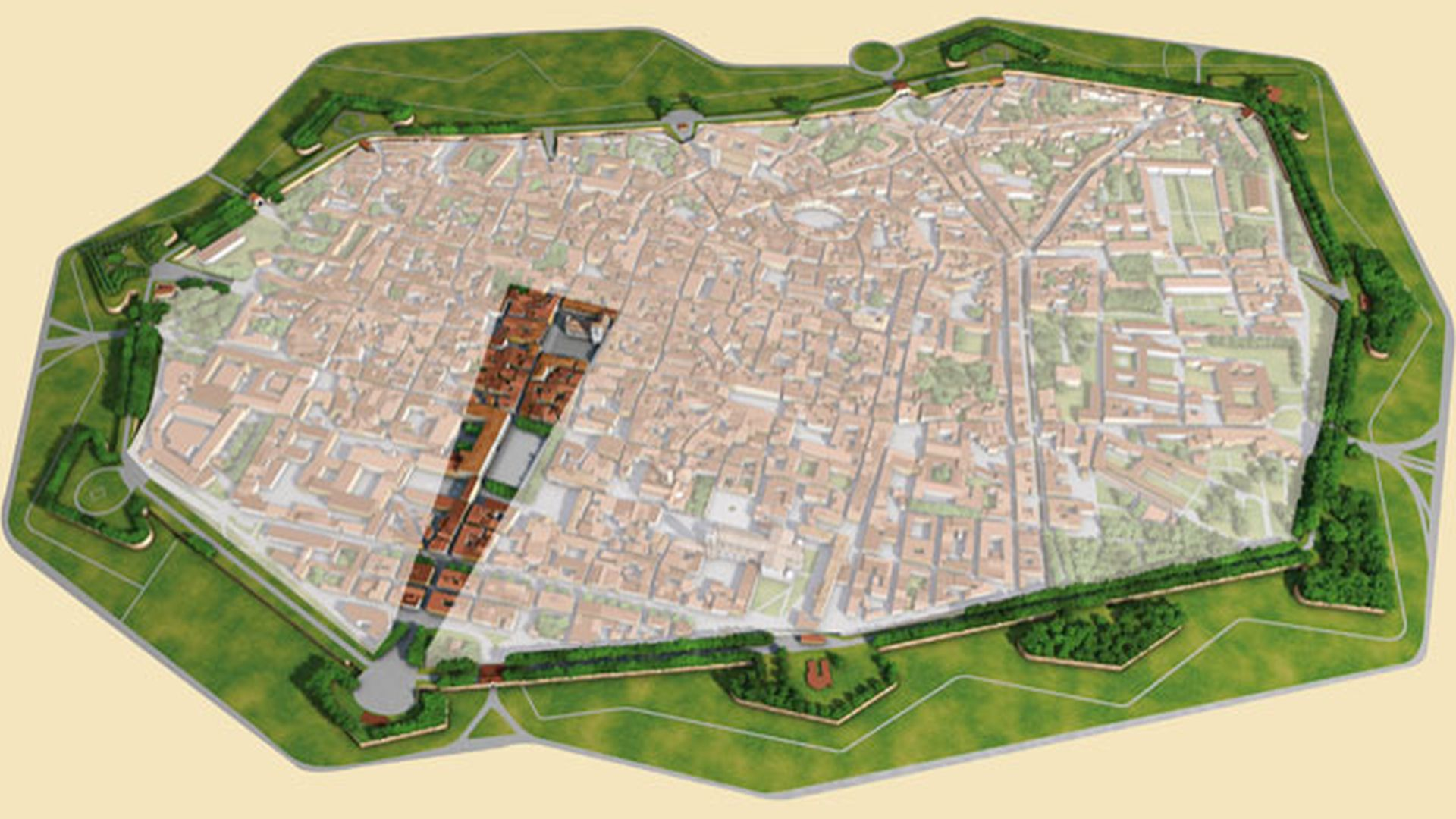 Map of Lucca with spotlight on the historic center