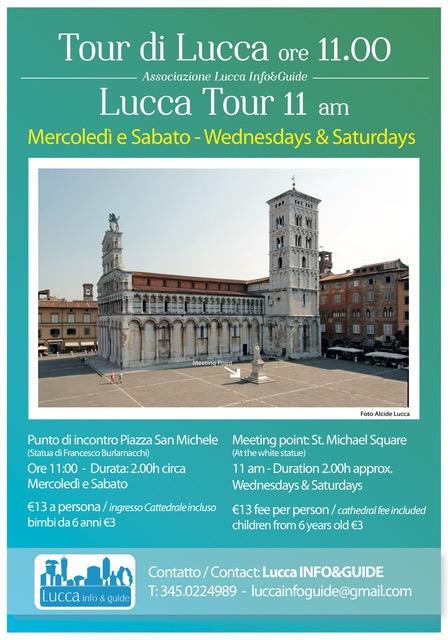 Lucca info e guide, locandina tour di Lucca delle 11
