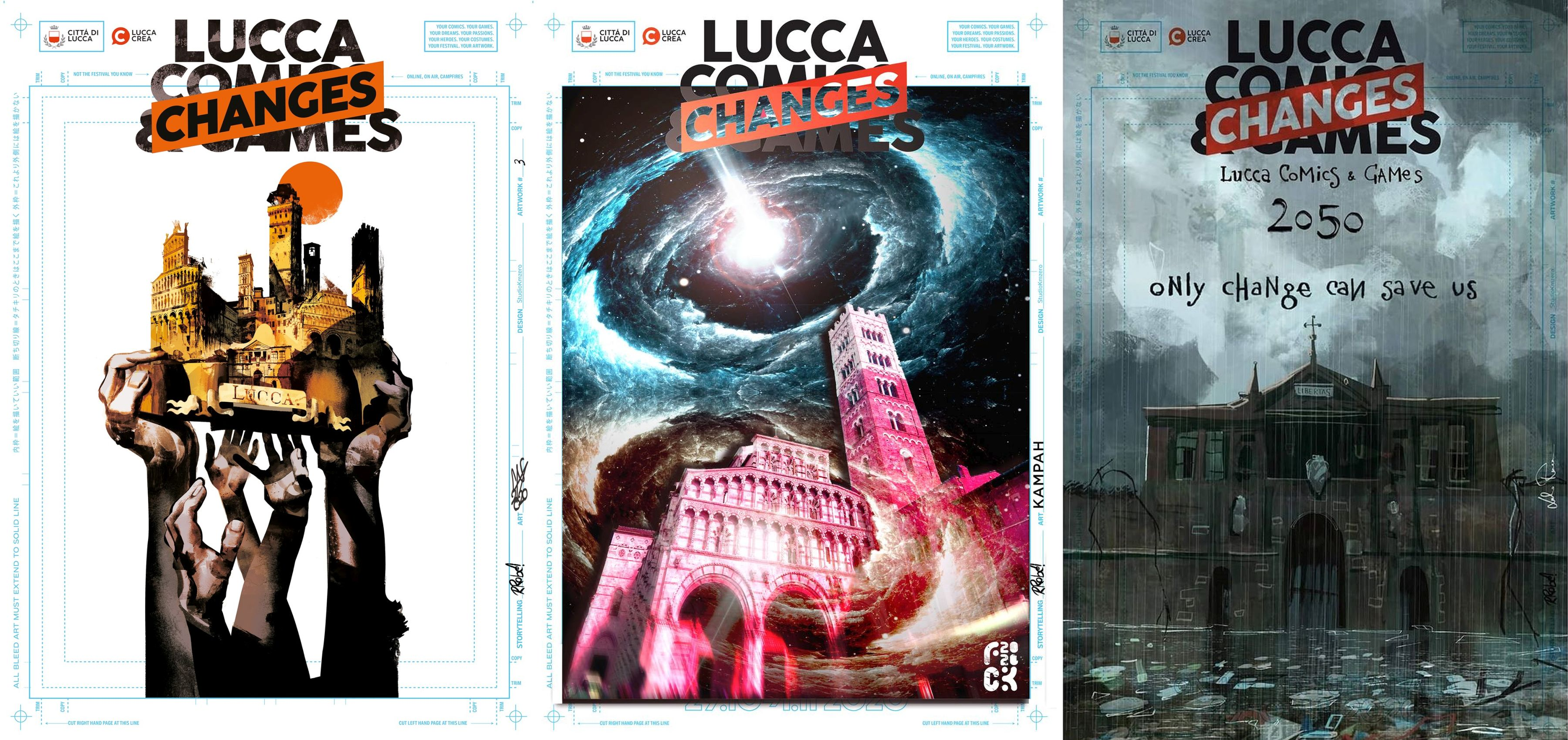 three posters of lucca comics and games 2020