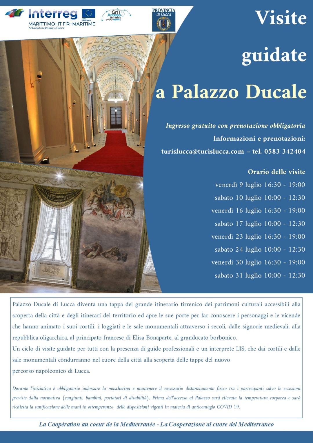 locandina visite guidate a Palazzo ducale di Lucca (anche LIS)