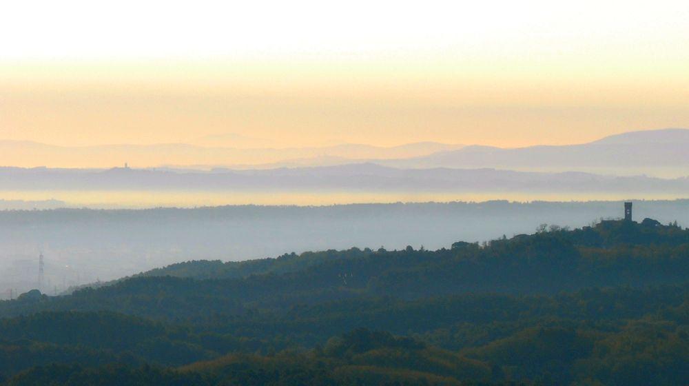 paesaggio della piana di Lucca con il profilo di Montecarlo nella nebbia