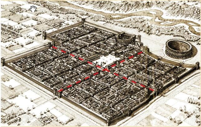 assonometria di lucca romana