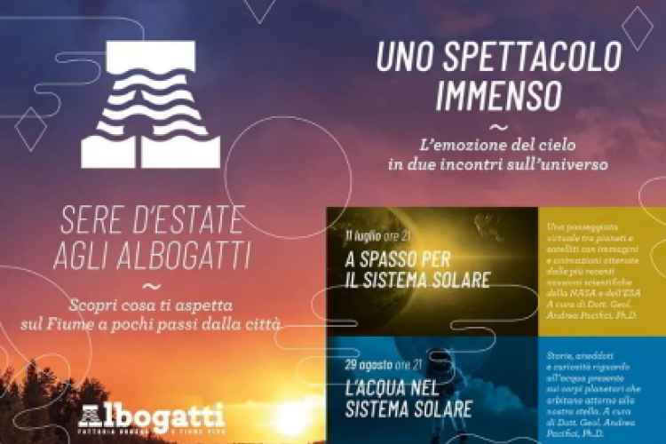 Poster with events of the Sere d'estate festival at the Albogatti farmhouse