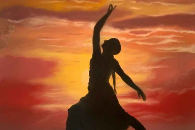 Painting by Luciano Besi - Silouette of a Woman at Sunset in Yoga Position