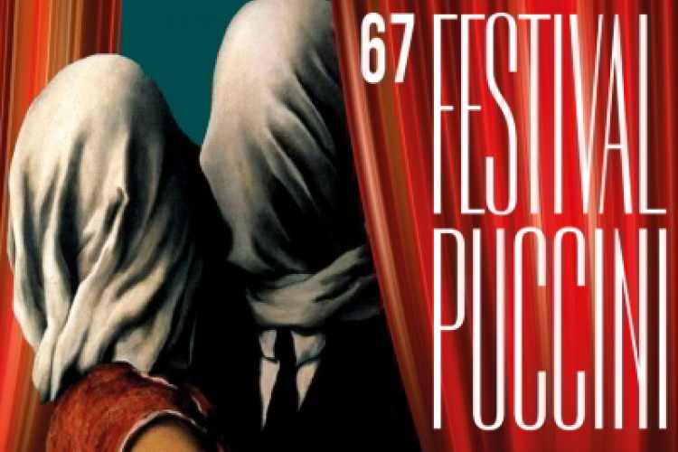 Lovers by Magritte (a veiled man and  woman kissing) as the logo of the 67th Puccini Festival