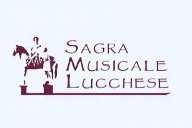 Logo of the festival: image of the Saint Martin's statue on the horse sharing his coat with a poor man next to the title Sagra Musicale Lucchese
